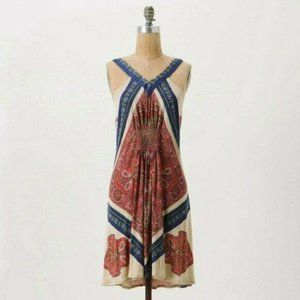Leifnotes Tank Dress V Neck Paisley Boho Swing S
